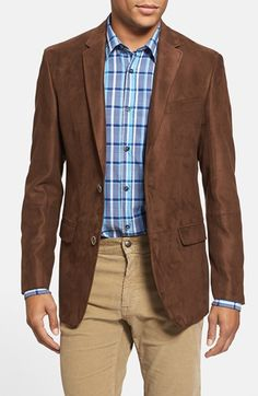 Brown Wool Blend Skinny Fit Blazer With Contrast Collar Detail