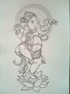 Dancing Lord Ganesh by Jeckylll Ganesha Drawing, Lord Ganesha Paintings, Ganesha Art, Ganesh Tattoo, Buddha Kunst, Buddha Art, Indian Traditional Paintings, Indian Art Paintings, Tattoos Bein