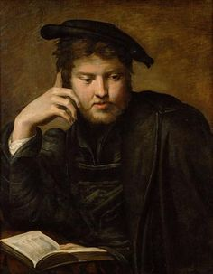 "Girolamo Francesco Maria Mazzola, known throughout his artistic career as Parmigianino [a nickname meaning 'the little one from Parma'] (Italian Mannerist Painter, 1503 – 1540)  ""Man with a Book"", 1525-1526"