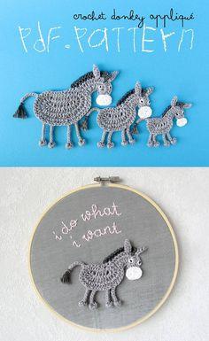 Crochet Donkey Applique #crochetdonkey #crochetapplique #crochetidea Affiliate Link