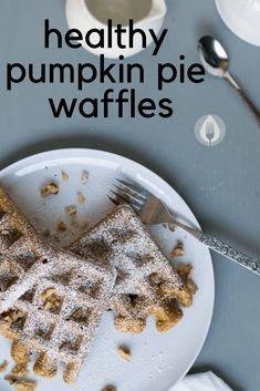 Pumpkin Pie Waffles - make these healthy whole grain vegan waffles for breakfast Healthy Pumpkin Pies, Vegan Pumpkin Pie, Pumpkin Pie Spice, Pumpkin Recipes, Fall Breakfast, Breakfast Ideas, Vegan Breakfast, Breakfast Recipes, Grain Foods