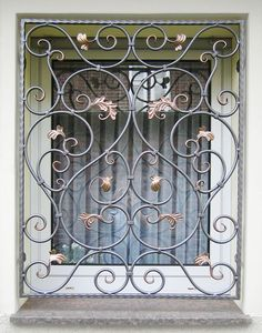 Fenstergitter Kunstschmiede Kandziora Steel Gate Design, Door Gate Design, Railing Design, Iron Window Grill, Window Grill Design, House Outer Design, House Front Design, Wrought Iron Decor, Wrought Iron Gates