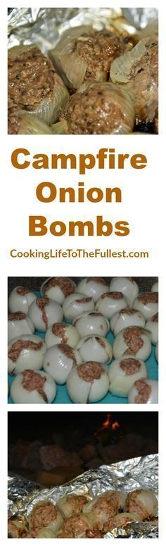 Check out Campfire Onion Bombs cooking video #outdoorfoodcooking
