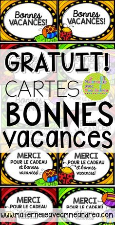 FREE French cards for the end of the year - Bonnes vacances! French Teaching Resources, Teaching French, End Of Year Activities, Kindergarten Activities, Teachers Pay Teachers Freebies, Core French, Free In French, French Classroom, Writing Assignments
