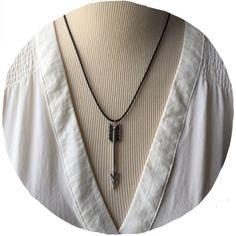 """Arrow Necklace Black Cord 18"""" Adjustable New Arrow Necklace Black Cord 18"""" Adjustable New Adjustable Jewelry Necklaces"""