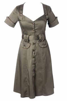 Military Khaki A line dress from topvintage.nl