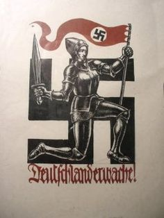 Deutschland erwache! Germany wake up! (it looks like a woman, probably Germania, the personification of Germany)