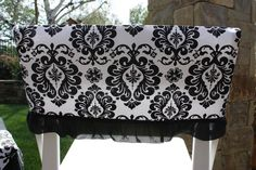 I can totally make these! Damask Party, Damask Wedding, Wedding Linens, Wedding Ceremony Chairs, White Damask, Chair Covers, Slipcovers, Open House, Diy Home Decor
