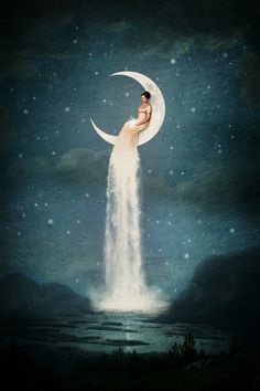 """""""Moon River Lady"""" Digital Art by Paula Belle Flores posters, art prints, canvas prints, greeting cards or gallery prints. Find more Digital Art art prints and posters in the ARTFLAKES shop. Moon River, Fantasy Kunst, Fantasy Art, Moon Magic, Moon Goddess, Luna Goddess, Moon Art, Moon Moon, Luna Moon"""
