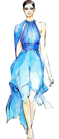 #RongrongDeVoe, #fashionillustration, #watercolorillustration, runway #illustration,fashion week 2014