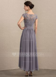 A-Line Princess Scoop Neck Asymmetrical Chiffon Lace Mother of the Bride  Dress Mother 81a3b4b0f616