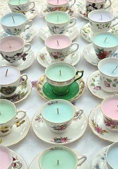 Projeto fofo de xícaras velas.