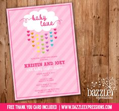 Printable Raining Hearts Baby Shower Invitation | Baby Sprinkle | Raining Cloud | Baby Girl | FREE thank you card included | Party Package Decorations Available | www.dazzleexpressions.com