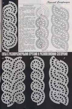Irish lace, crochet, crochet patterns, clothing and decorations for the house, crocheted. Irish Crochet Patterns, Crochet Motifs, Form Crochet, Crochet Borders, Crochet Diagram, Thread Crochet, Filet Crochet, Diy Crochet, Crochet Designs
