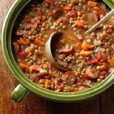 Lentil-Sausage Soup is an easy, delicious and hearty recipe for a slow cooker soup. Ingredients include: Spicy chicken sausage links, onion, carrots, lentils, garlic and celery. Just cut up the vegetables and throw everything in the slow cooker. This is also a low calories, low fat, low cholesterol, low carbohydrates, low sugars, diabetic-friendly and Weight Watchers (5 PointsPlus), (6 SmartPoints) recipe. Makes: (6) serviings.