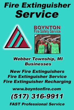 Fire Extinguisher Service Webber Township, MI (517) 316-9911 Local Michigan Businesses Discover the Complete Fire Protection Source.  We're Boynton Fire Safety Service.. Call us today!