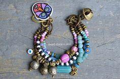 Rustic Ethnic multi strand bracelet Hippie Boho Gypsy