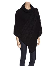 Look at this #zulilyfind! Capelli New York Black Chunky Cable-Detail Turtleneck Poncho by Capelli New York #zulilyfinds