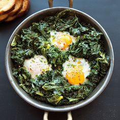 Spicy Simmered Eggs with Kale Dash Diet Breakfast Recipe, Breakfast Recipes With Kale, Breakfast Bake, Fodmap Breakfast, Breakfast Healthy, Breakfast Burritos, Sweet Breakfast, Breakfast Ideas, Breakfast Smoothies