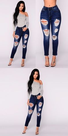 d29c88ad9a 2018high quality popular womens fashion skinny rip repair stylish jeans  casual long solid pants  0218  cotton  full  length  light  zipper  fly   high  hole ...