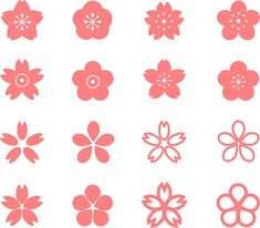 Icon of cherry blossom vetor e ilustração royalty-free royalty-free Japanese Textiles, Japanese Art, Doodle Boarders, Pink Games, Cherry Blossom Art, Art Prompts, Stencil Patterns, Art Drawings Sketches Simple, Flower Clipart