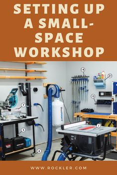 A large space is nice for many reasons, but you actually don't need a large space to set up an effective shop. shop layout small Setting up a Small-Space Workshop Woodworking Shop Layout, Woodworking Furniture Plans, Rockler Woodworking, Woodworking Projects That Sell, Woodworking Magazines, Woodworking Square, Woodworking Equipment, Custom Woodworking, Fine Woodworking