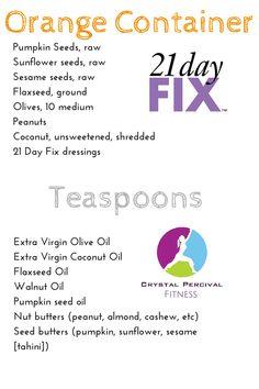 Crystal P Fitness and Food: 21 Day Fix Orange/Teaspoon Food List