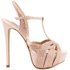 Alleviate the stress of finding the right shoe for your event.  The Allly will take the edge off!  This lavish Steve Madden sandal features a soft blush satin upper with beautiful rhinestone detail.  An adjustable ankle strap, 6 inch heel and 1 1/2 inch platform finishes this beauty.