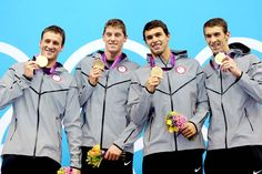 Ryan Lochte, Conor Dwyer, Ricky Berens and Michael Phelps of the Men's 4 x 200m Freestyle Relay final. HOTTEST TEAM EVER