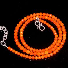 "33CRTS 3.5to4.2MM 18"" ETHIOPIAN OPAL ORANGE ROUND FACETED BEADS NECKLACE OBI3913 #OPALBEADSINDIA"