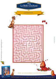 Un jeu de labyrinthe avec les héros de La Belle et le Clochard, à imprimer