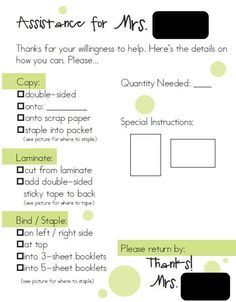 Good quick for to attach to papers for a sub or para to complete during down time or planning time