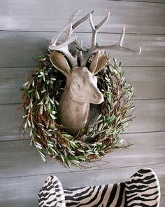 Estate Stone Deer Head Mount & Olive and Twig Wreath wreaths-and-garlands