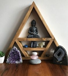 During the ancient times until now, people practice meditation because of its provided advantages. Incorporating meditation as part of your daily life can make a big difference regarding your attitude and outlook in life. Meditation Corner, Meditation Room Decor, Meditation Space, Yoga Room Decor, Yoga Studio Design, Altar Design, Reiki Room, Crystal Shelves, Crystal Altar