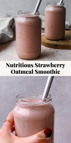 Healthy Milkshake, Healthy Breakfast Smoothies, Yummy Smoothies, Healthy Filling Breakfast, Healthy Filling Snacks, Healthy Fruits, Strawberry Oatmeal Smoothie, Strawberry Milkshake Recipes, Oat Smoothie