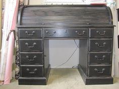 Shabby Chic Black Painted Roll Top Desk...for by TheCottageWay, $250.00