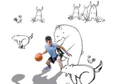 Stock-Foto : Young man playing basketball with illustrated animals, digital composite