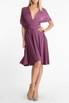 Wrap Dress In Plum.