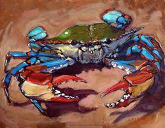 Crab Disorder, painting by artist Rick Nilson Crab Art, Fish Art, Paintings I Love, Animal Paintings, Illustrations Pastel, Crab Painting, Rock Painting, Louisiana Art, Louisiana Seafood