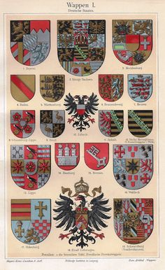 "Meyers's Lexicon - 1913 - ""COATS OF ARMS - GERMANY"" - Chromolithograph"