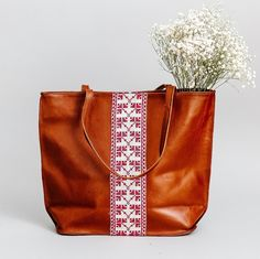The Brown Leather Tote Bag Brown Leather Totes, Cow Leather, Ethical Fashion Brands, Leather Projects, Everyday Bag, Old Art, Leather Purses, Carnation, Palestine