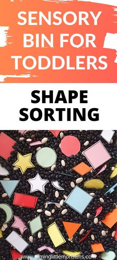 Teach toddlers and preschoolers about shapes with this easy shape sorting sensory bin. A fun way to develop math, fine motor skills, visual discrimination and more. Get the free printable shape templates here, #sensory #toddlers #preschool #shapes #math Sensory Bins, Sensory Activities, Preschool Activities, Preschool Shapes, Learning Shapes, Kids Learning, Toddler Fun, Toddler Preschool, Printable Shapes