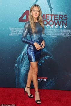Sistine Stallone joins lookalike sisters Sophia and Scarlet at 47 Meters Down: Uncaged premiere Metallic Dress, Sequin Mini Dress, Satin Dresses, Sexy Dresses, Short Dresses, Award Show Dresses, Hot Dress, Poses, Party Fashion