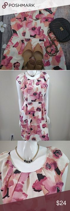 APT.9 CHOLE PINK DRESS Fab pick for spring...colorful ,fun yet chic..beautiful details in waistline...neckline..two side pockets for a midi kind of flow ...pair this beauty with your fab heels and step in style all spring🌷🌸🌷🌷💃💃💃💃 New with tag Apt. 9 Dresses