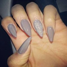 Grey and silver stilleto nails