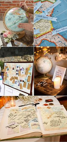 unique map and globe wedding guest book ideas