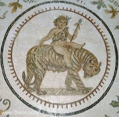 Ancient Greek & Roman Mosaic: Dionysus Riding Tiger. Museum Collection: El Djem (in situ), Tunisia Period: Imperial Roman  SUMMARY  The infant Dionysos, wearing a leopard-skin cloak and holding a thyrsos staff, rides on the back of a tiger.