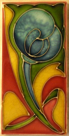 """What can I say about the stunning colour glazes used by H & R Johnson for this tube-lined design c1906/7,see my book """"Art Nouveau Tiles with more Style"""" tile reference 1026 to see an even better example."""