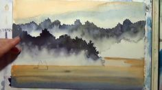 How to paint fog with watercolor - demo paints a silhouette of canoe on a foggy mountain river. Visit www.debwatsonart.com for more free how to paint watercolor lessons.