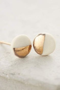"Porcelain Pebble Posts handmade in US by Zoe Comings, 0.25"" diameter, 14k gold filling & painted porcelain, $48 at Anthro (online exclusive.) Also available insure"